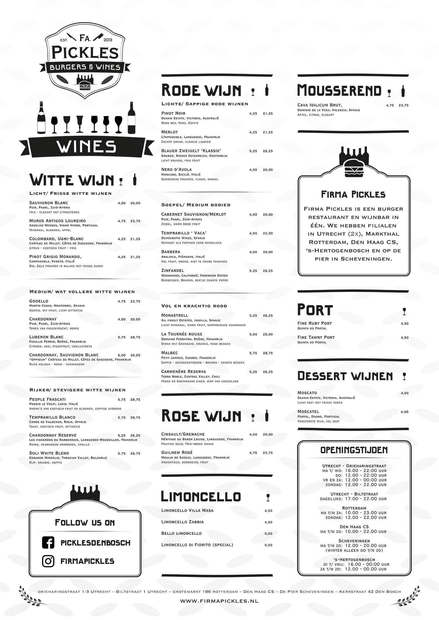 Firma Pickles Wijnkaart