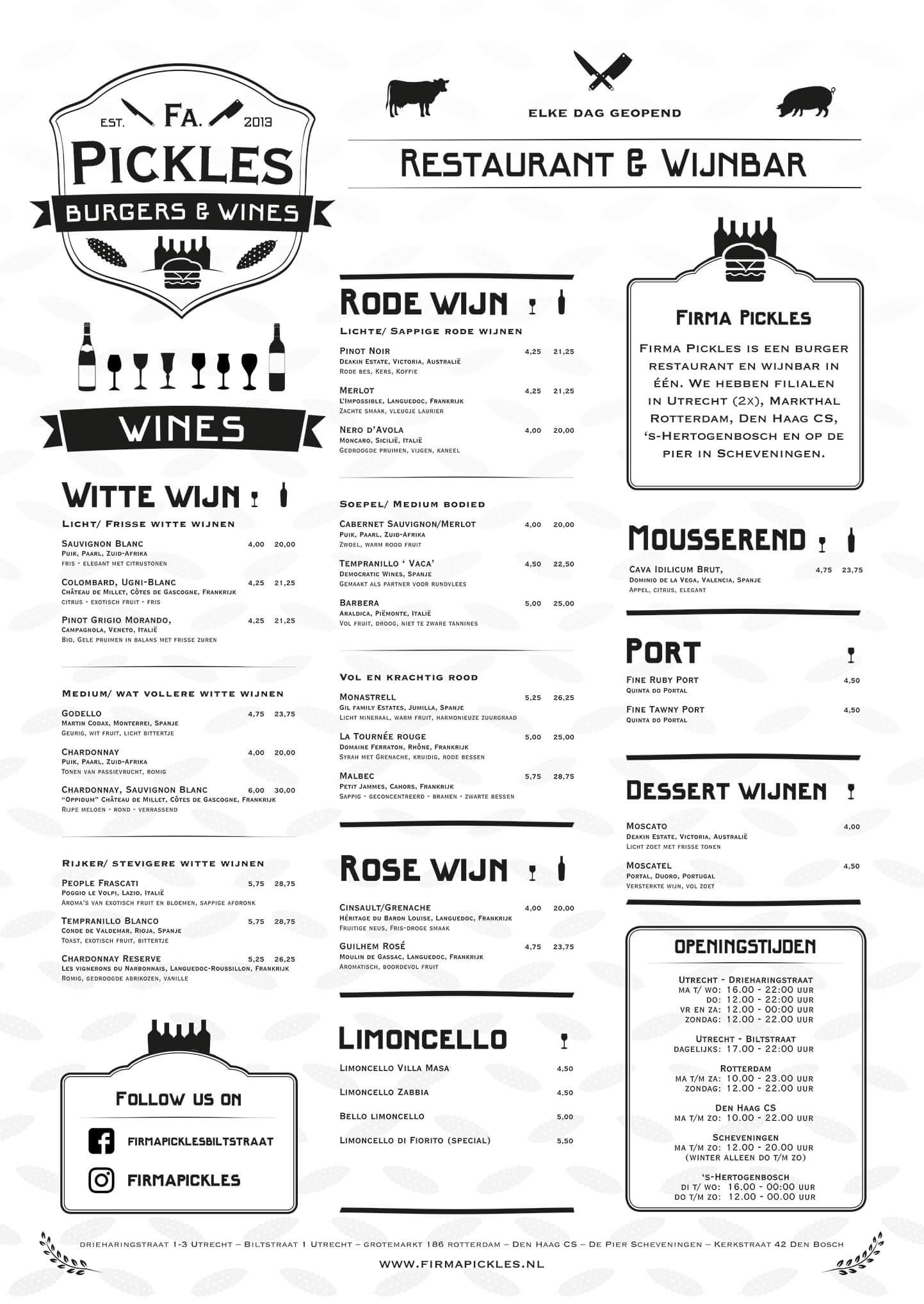 Firma Pickles Biltstraat Wijnkaart